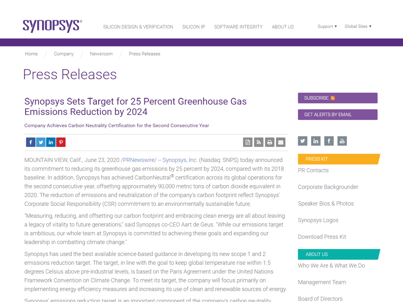 Synopsys achieves CarbonNeutral certification for second year