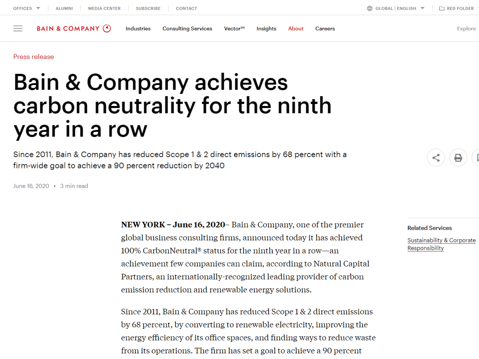 Bain & Company achieves carbon neutrality for the ninth year in a row