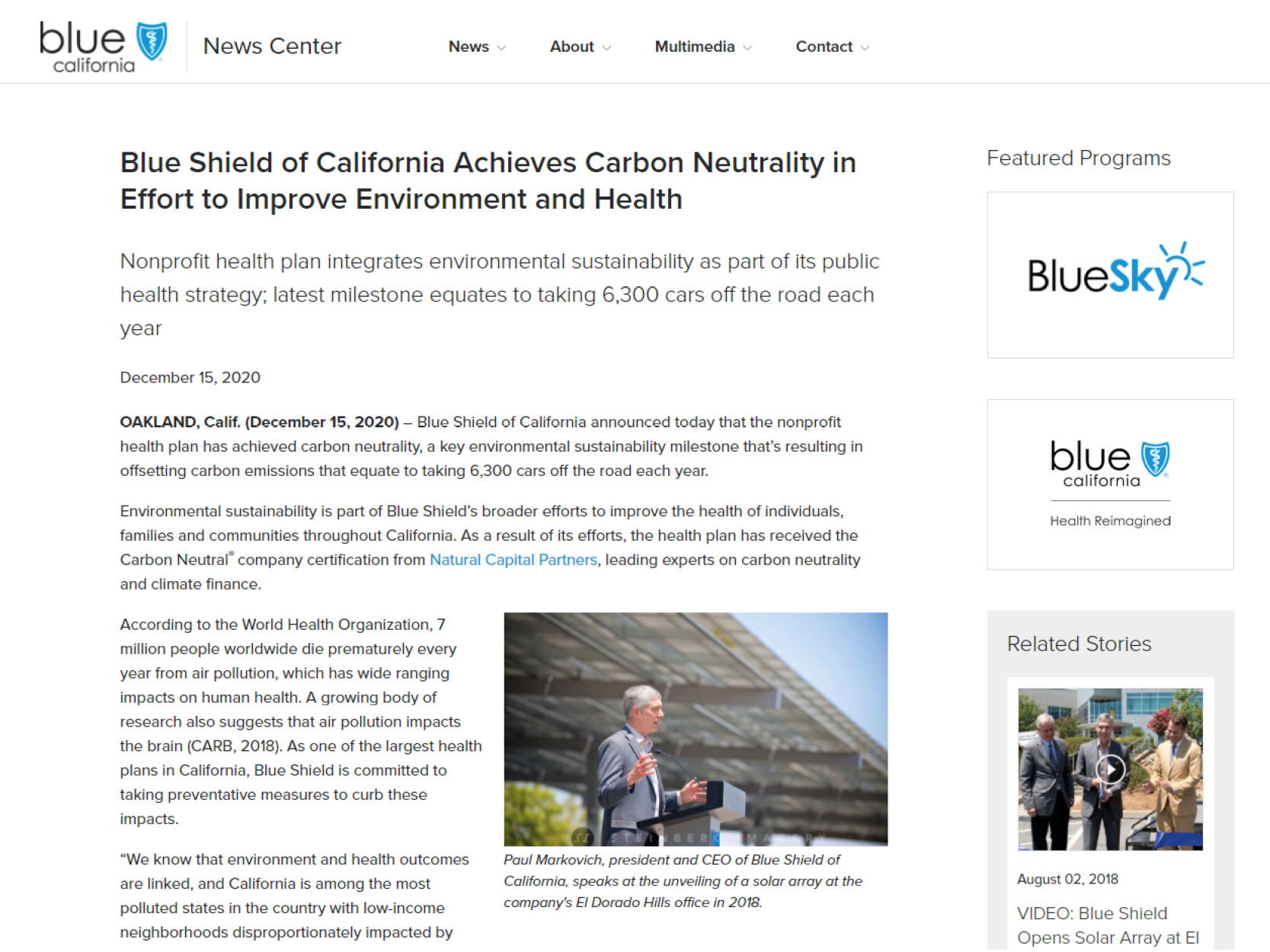 Blue Shield of California Achieves Carbon Neutrality in Effort to Improve Environment and Health